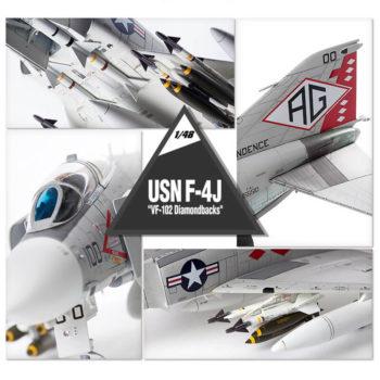 academy 12323 USN F-4J VF-102 Diamondbacks Kit en plástico para montar y pintar. Incluye armamento completo aire-aire y aire-superficie. Tres figuras de pilotos, 2 sentados y 1 de pies.