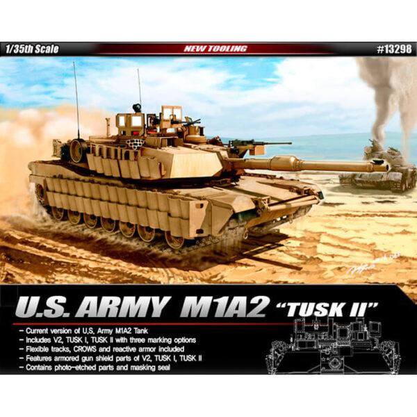 ACADEMY 13298 U.S. Army M1A2 SEP TUSK II Kit en plástico para montar y pintar. Incluye piezas en fotograbado y mascarillas. Se puede montar en tres versiones diferentes: SEP V2/TUSK/TUSK II