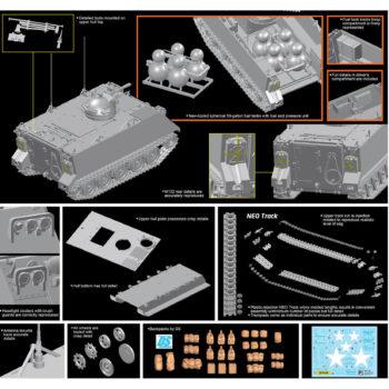 dragon 3621 M132 Armored Flamethrow kit en plástico para montar y pintar. Incluye cadenas por tramo y eslabón.