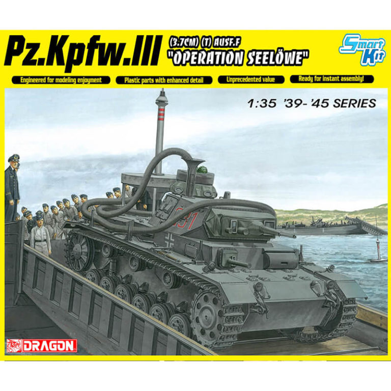 dragon 6877 Pz.Kpfw.III (3.7cm) (T) Ausf.F OPERATION SEELOWE kit en plástico para montar y pintar. Incluye figura del general Guderian.