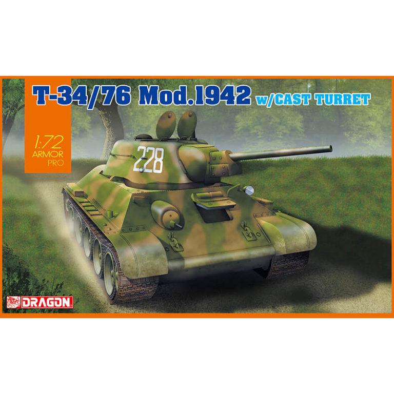 dragon 7601 T-34/76 Mod.1942 Cast Turret 1/72 Armor Pro Kit en plástico para montar y pintar. Hoja de calcas con 2 decoraciones