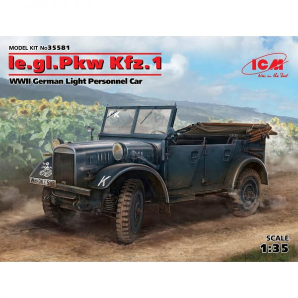 icm 35581 le.gl.Einheits-Pkw Kfz.1 WWII German Light Personnel Car Kit en plástico para montar y pintar.