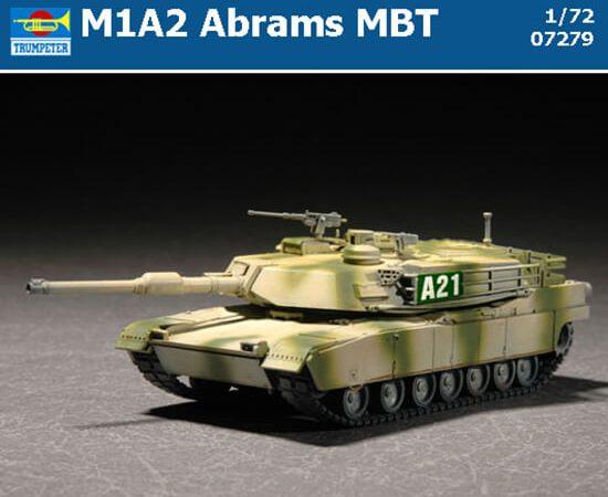 M1A2 Abrams MBT Kit en plástico para montar y pintar. Dimensiones: 144,91 x 51,2 mm Escala 1/72