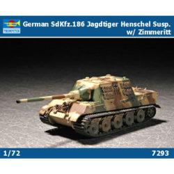 trumpeter 7293 German SdKfz.186 Jagdtiger Henschel Suspension w/zimmeritt Kit en plástico para montar y pintar. Dimensiones: 145,6 x 50,3 mm Escala 1/72