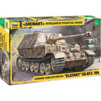 zvezda 3659 Sd.Kfz.184 Elefant German Tank Destroyer Kit en plástico para montar y pintar. Cadenas por tramos y eslabón. Incluye hoja de calca con la textura de zimmerit grabada.