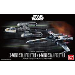 Bandai 0228377 Star Wars 1/144 X-Wing Starfighter & Y-Wing StarfighterKit de montaje en plástico por presión, no necesita pegamento.Incluye pedestal para las maquetas.