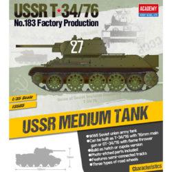 academy 13505 USSR T-34/76 No.183 Factory ProductionKit en plástico para montar y pintar.Incluye piezas en fotograbado y cadenas por tramo y eslabón