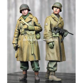 alpine miniatures 35261 WW2 US Infantry Winter Set Kit en resina para montar y pintar. El kit incluye 2 figuras y 4 cabezas con casco o casco con malla.