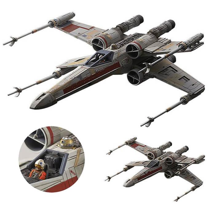bandai 0210522 Star Wars 1/72 1/144 Rouge One Red Squadron X-Wing StarfighterEdición especial. Kit de montaje en plástico por presión, no necesita pegamento.