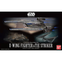 bandai 0212184 Star Wars 1/144 Rouge One U-Wing Fighter & Tie StrikerKit de montaje en plástico por presión, no necesita pegamento.