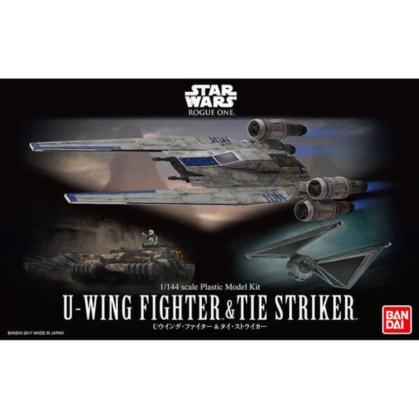 bandai 0212184 Star Wars 1/144 Rouge One U-Wing Fighter & Tie StrikerKit de montaje en plástico por presión, no necesita pegamento.