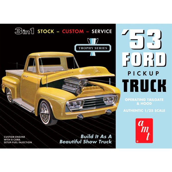 amt 882/12 Ford Pickup 1953 1/25Kit en plástico para montar y pintar.