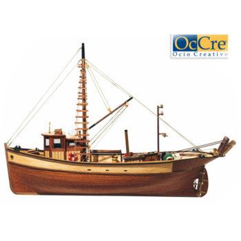 occre 12000 Pesquero Palamos 1/45 Kit de construcción tradicional en madera, casco por cuadernas con doble forro.
