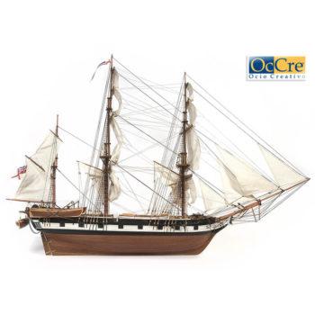 occre 12005 HMS Beagle 1/80Kit de construcción tradicional en madera, casco por cuadernas con doble forro