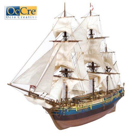 occre 14006 Fragata HMS Bounty 1/45 Kit de construcción tradicional en madera, casco por cuadernas con doble forro