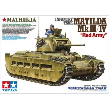 tamiya 35355 Infantry Tank Matilda Mk.III-IV Red Army kit en plástico para montar y pintar.Incluye 2 medias figuras del comandante y el conductor.