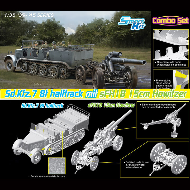 dragon 6918 Sd.Kfz.7 8(t) Halftrack + s.FH.18 HowitzerKit en plástico para montar y pintar