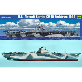 trumpeter 05603 U.S. Aircraft Carrier USS Yorktown CV-10 1944 Kit en plástico para montar y pintar. Opción de montar con casco completo o por linea de flotación
