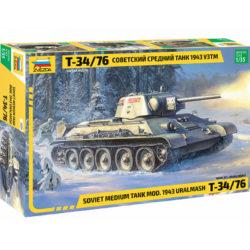 zvezda 3689 Soviet Medium Tank T-34/76 Mod.1943 URALMASH Kit en plástico para montar y pintar.Incluye cadenas por tramo y eslabón.