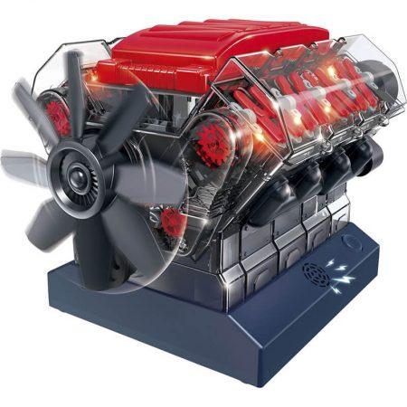 Motor de combustión interna V8 Construye un modelo en plástico de motor de combustión interna V8 completamente funcional.