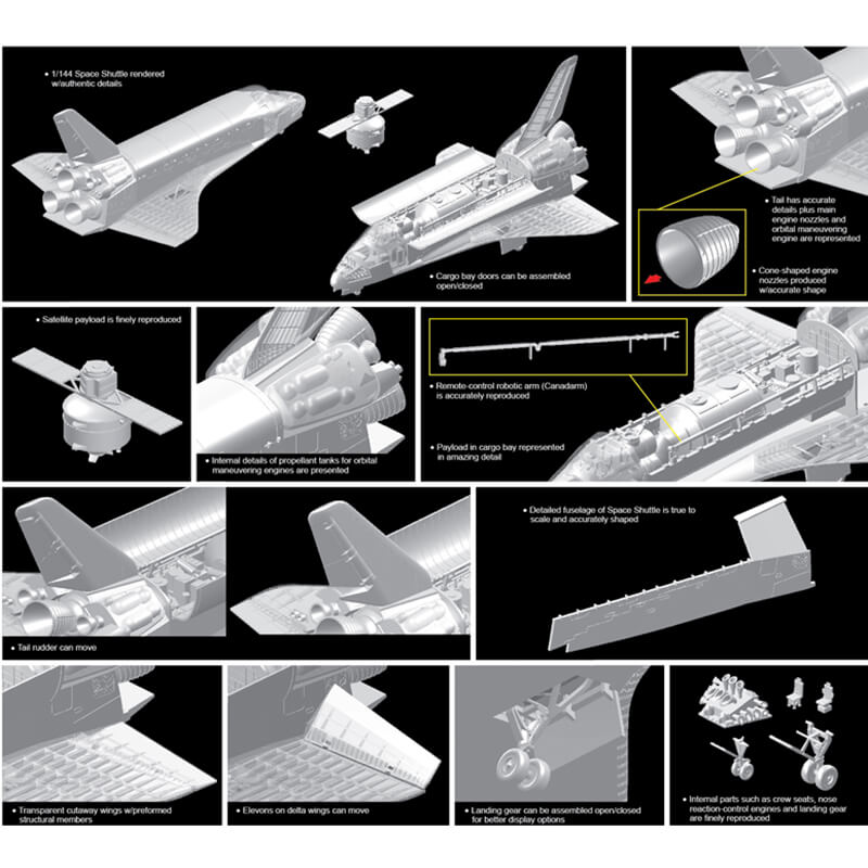dragon 11004 Space Shuttle w/Cargo bay & Satellite maqueta de plástico escala 1/144