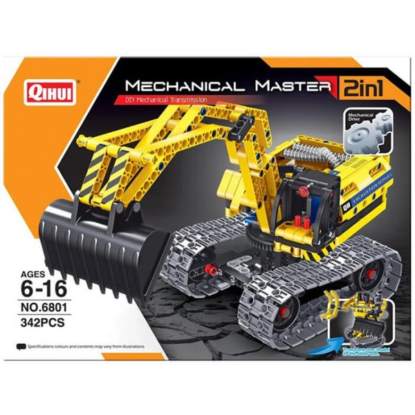 qihui 6801 2 en 1 Excavadora y Robot 342pcs Mechanical Master DIY Mechanical Transmission