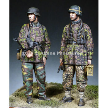 alpine miniatures 35268 WW2 German MG Team 12 SS Hitlerjugend figuras en resina escala 1/35