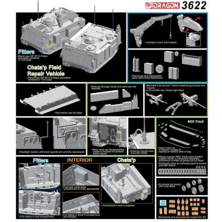 IDF M113 Fitters & Chata'p Field Repair Vehicle Middle East War Series Combo Set El set incluye piezas para montar 2 M113 Israelíes de recuperación