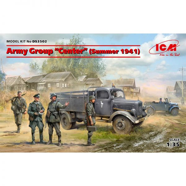 icm ds3502 German Army Group Center Russia Summer 1941 Kfz.1, Typ L3000S, 4 German Infantry, 4German Drivers maqueta escala 1/35