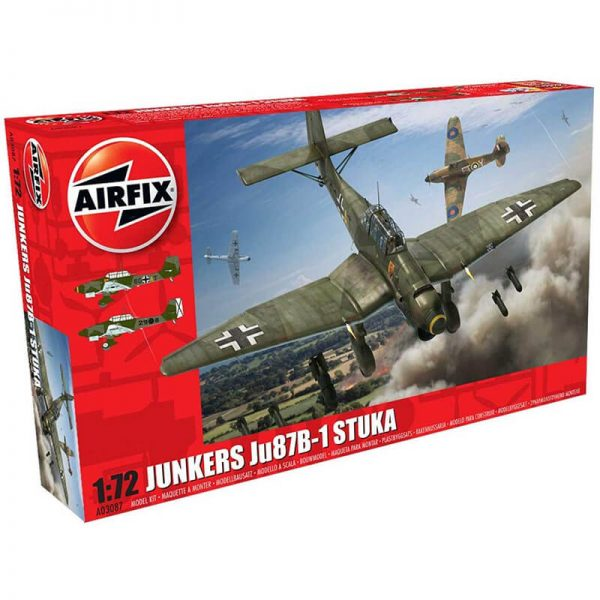 airfix ao3087 Junkers Ju87 B-1 Stuka 1/72Kit en plástico para montar y pintar.Hoja de calcas con 2 decoraciones.Dimensiones: 152 x 192 mm