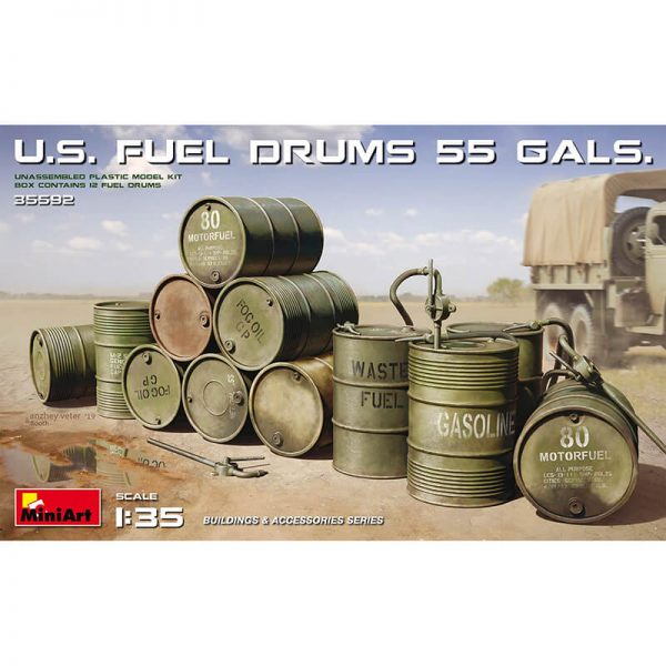 miniart model 35592 US Fuel Drums 55 Gals maqueta escala 1/35