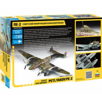 zvezda 7283 Petlyakov PE-2 Soviet Dive Bomber Peshka maqueta escala 1/72