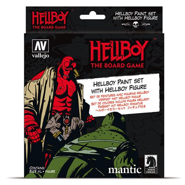 AV70187 Hell Boy Paint Set de 8 colores de Acrylicos Vallejo y 1 miniatura exclusiva de Hell Boy modelada por Mantic Games