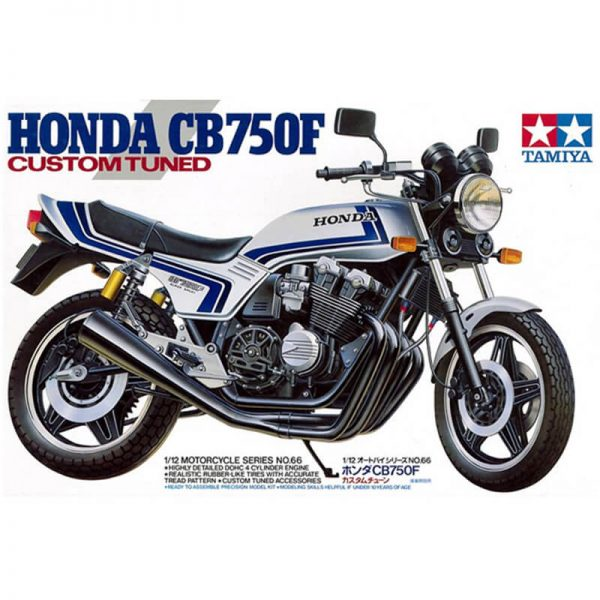 Honda CB750F Custom Tuned 1/12 Kit en plástico para montar y pintar. Motor de 4 cilindros detallado.