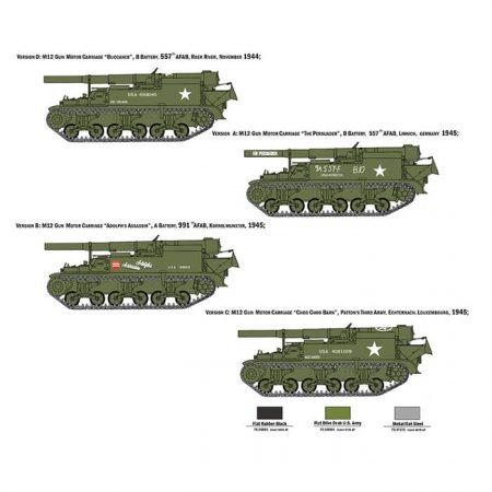 italeri 7076 M12 Gun Motor Carriage maqueta escala 1/72