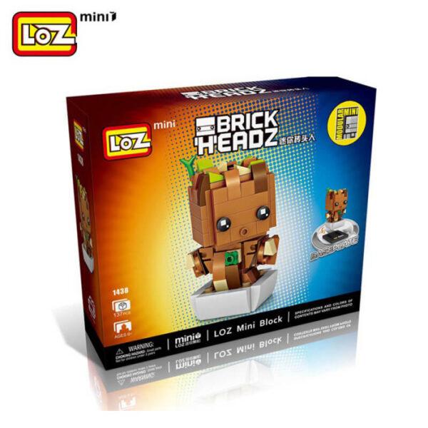 Loz Mini 1434 Baby Groot Brick Headz 137 pcs Marvel Guardianes de la Galaxia Construye y colecciona con los bloques de Loz, tus personajes favoritos.