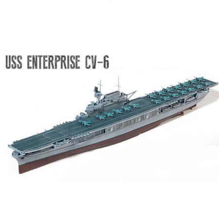 USS Enterprise CV-6 PTO 1/700 Task Force 16, Midway, Junio 1942 Kit en plástico para montar y pintar, incluye fotograbados. Se puede montar con casco completo o waterline. Longitud 358 mm
