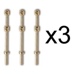 Constructo 80049 Candelero Latón 2 Orificios 27mm (3und) Candelero de latón de dos orificios pasantes con tope de entrada en el pie.