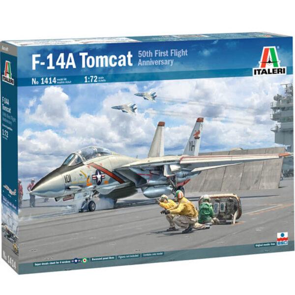 italeri 1414 Grumman F-14A Tomcat 50th First Flight Anniversary. Kit en plástico para montar y pintar. Hoja de calcas con 4 decoraciones. Escala 1/72