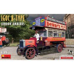 LGOC B-Type London Omnibus Miniatures Series Kit en plástico para montar y pintar. Incluye piezas en fotograbado y motor detallados.