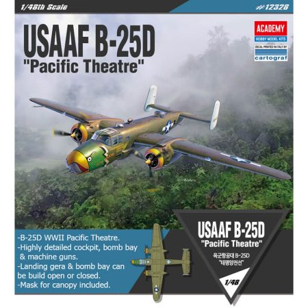 academy 12328 USAAF B-25D Pacific Theatre 1/48 Kit en plástico para montar y pintar, incluye mascarillas para el cockpit.