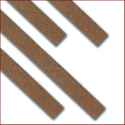 Forro de Nogal 1 Mtr Paquete de listones (tracas) de forro en madera de Nogal para modelismo naval, marquetería, restauración y hobby en general.