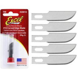 Excel nº10 Hoja Cutter con filo curvo Juego de 5 unidades para mango de cutter nº 1.