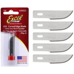Excel nº22 Hoja Cutter con filo curvo Juego de 5 hojas para mangos de cutter nº 2 y nº 5.