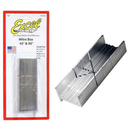 EXCEL 55665 Ingletadora de Aluminio Corte 45º/90º Caja de ingletes en aluminio con ranuras preparadas para cortes en 45 y 90º.