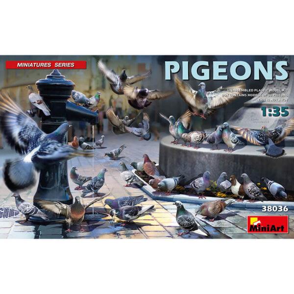 miniart models 38036 Pigeons - Palomas Miniatures Series Kit en plástico para montar y pintar un total de 36 palomas en diferentes posturas.