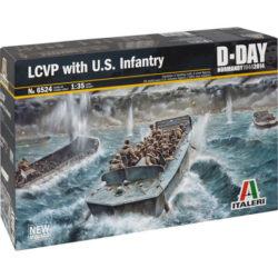italeri 6524 LCVP with U.S. INFANTRY 1/35 Kit en plástico para montar y pintar. Incluye 3 tripulantes y 25 figuras multipose de infantería americana.