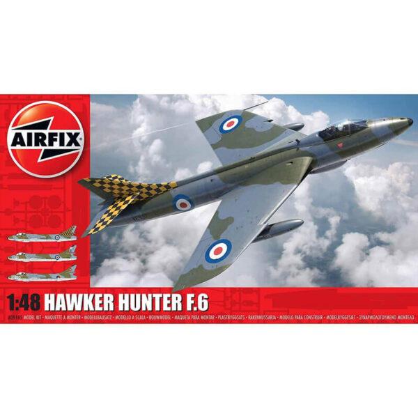 airfix a09185 Hawker Hunter F.6 1/48 Kit en plástico para montar y pintar. Hoja de calcas con 3 decoraciones.