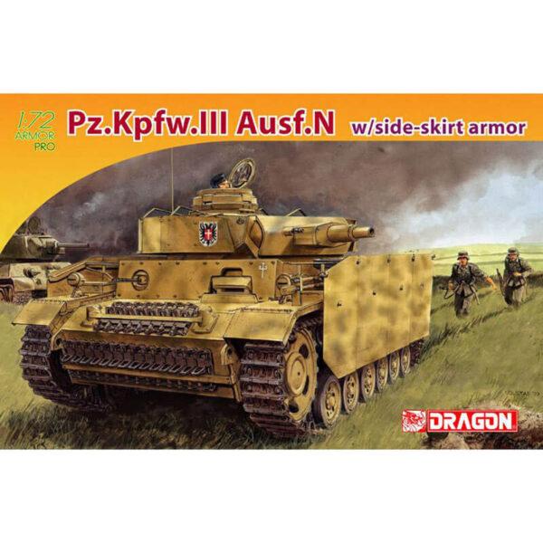 dragon 7407 Pz.Kpfw.III Ausf.N w/side-skirt armor 1/72 Kit en plástico para montar y pintar.