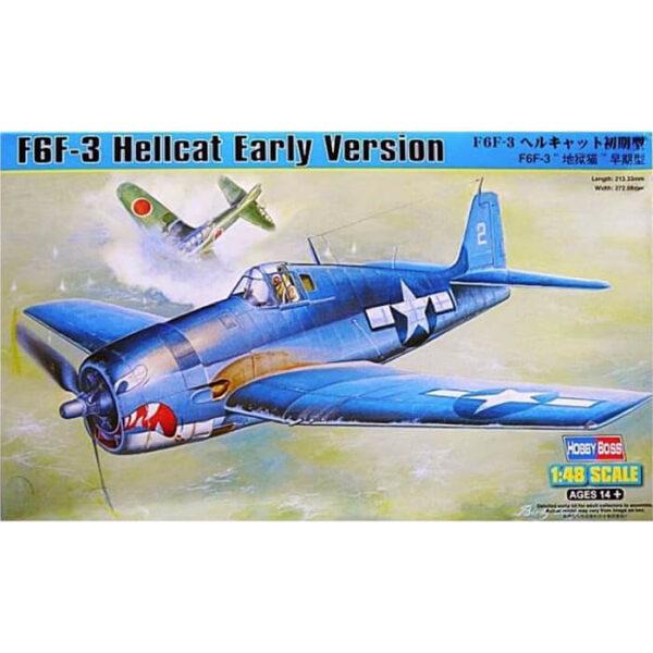 hobby boss 80338 F6F-3 Hellcat Early Version 1/48 Kit en plástico para montar y pintar. Las alas se pueden montar en posición de vuelo o plegadas. Hoja de calcas con 2 decoraciones